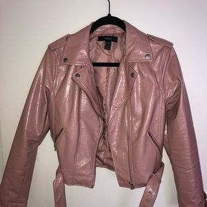 Mauve Patent Leather Biker Jacket